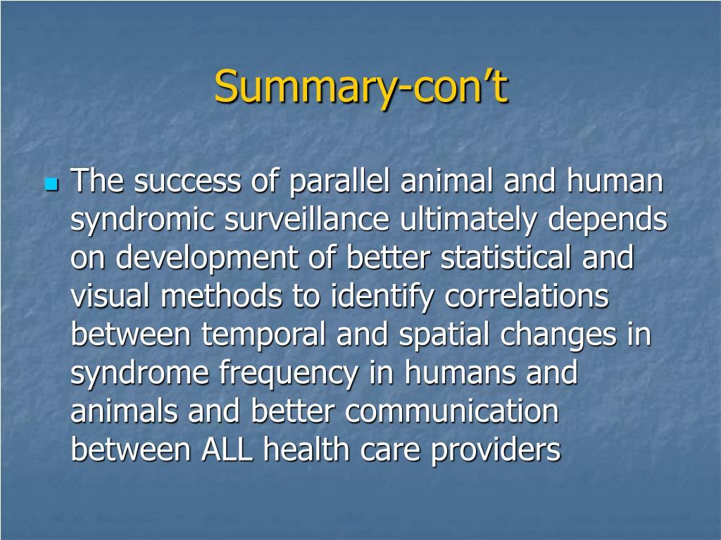 Summary-con't