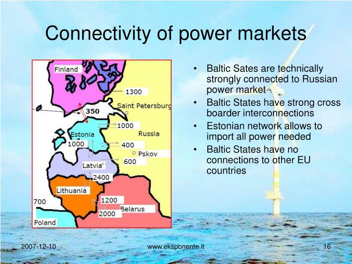 Connectivity of power markets