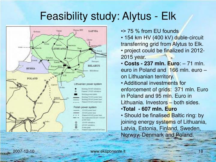 Feasibility study: Alytus - Elk