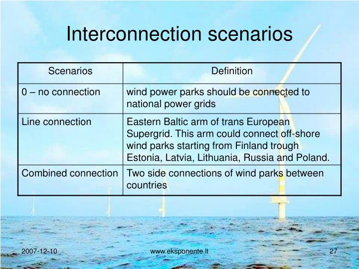 Interconnection scenarios