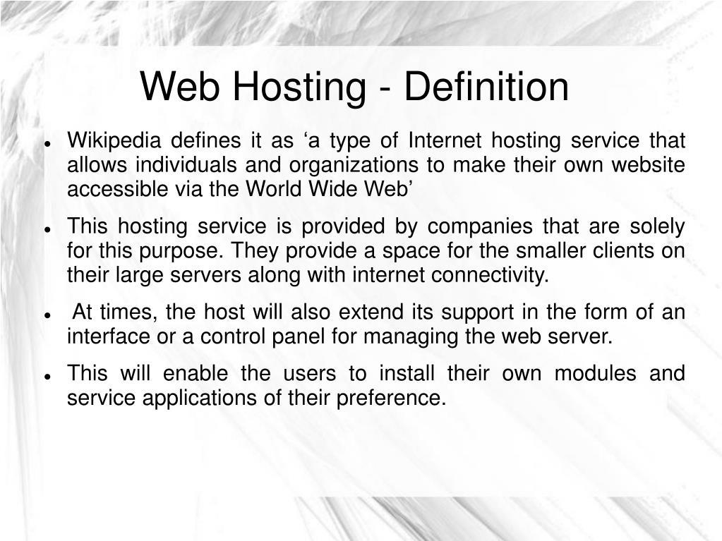 Web Hosting - Definition