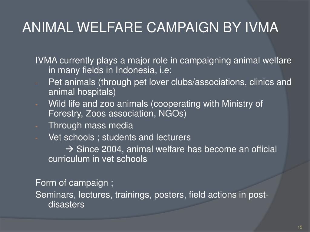 ANIMAL WELFARE CAMPAIGN BY IVMA