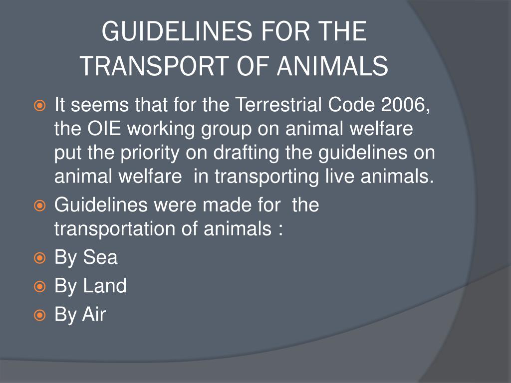 GUIDELINES FOR THE TRANSPORT OF ANIMALS