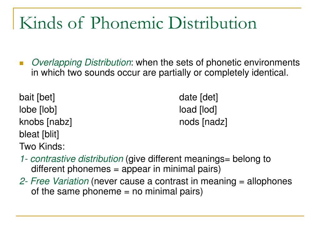 Kinds of Phonemic Distribution