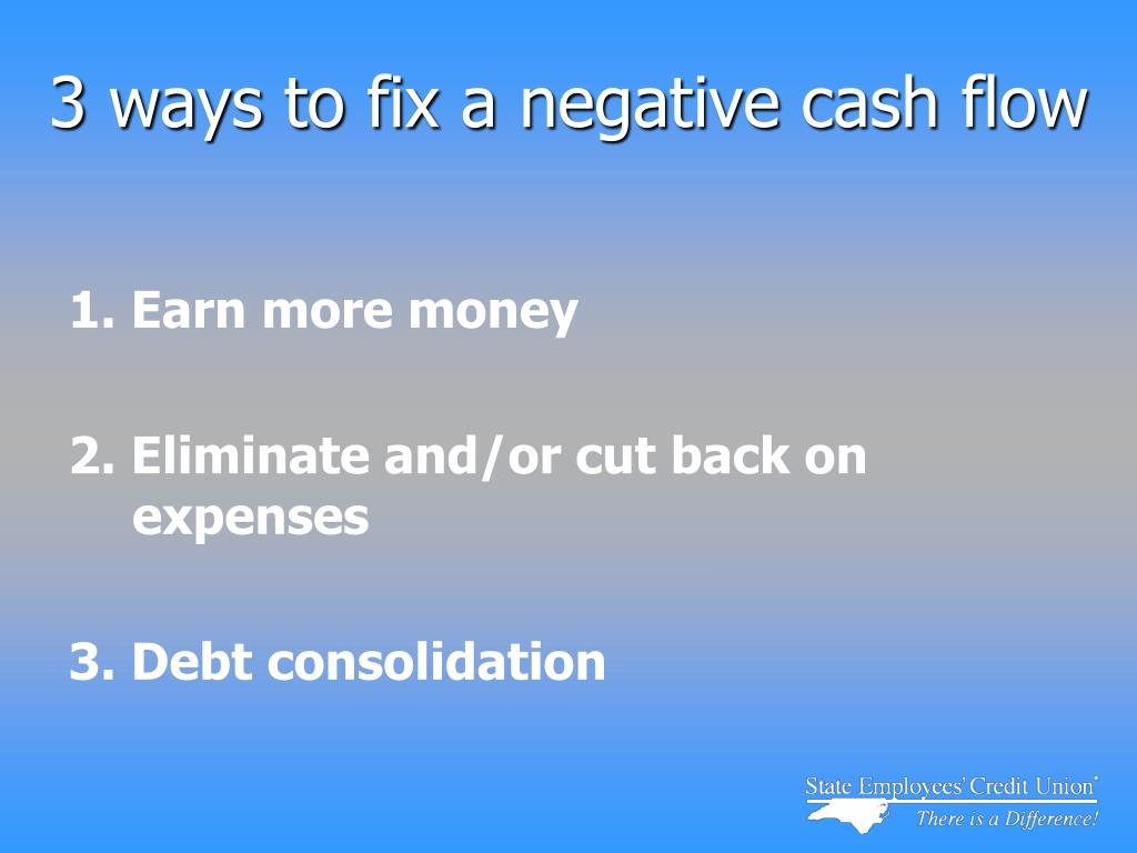3 ways to fix a negative cash flow