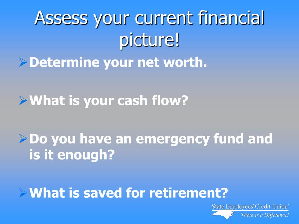 Assess your current financial picture!