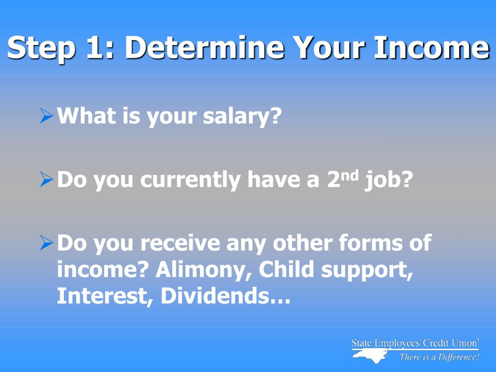 Step 1: Determine Your Income