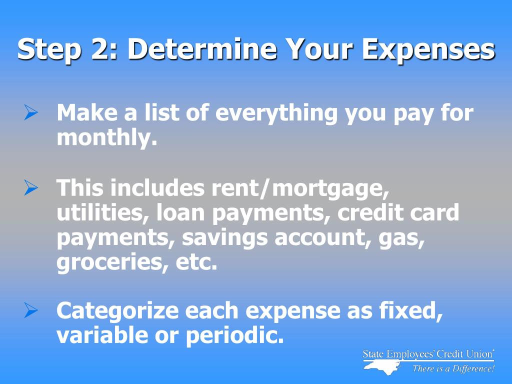 Step 2: Determine Your Expenses