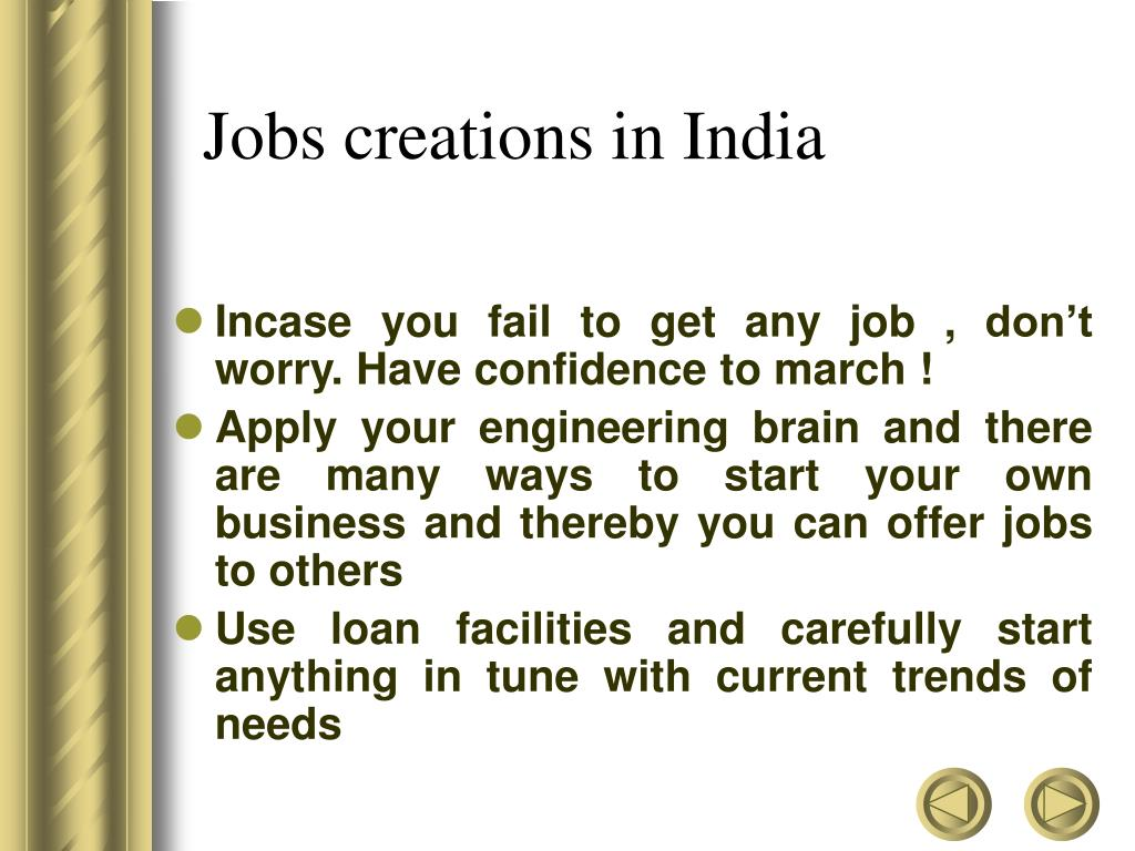Jobs creations in India