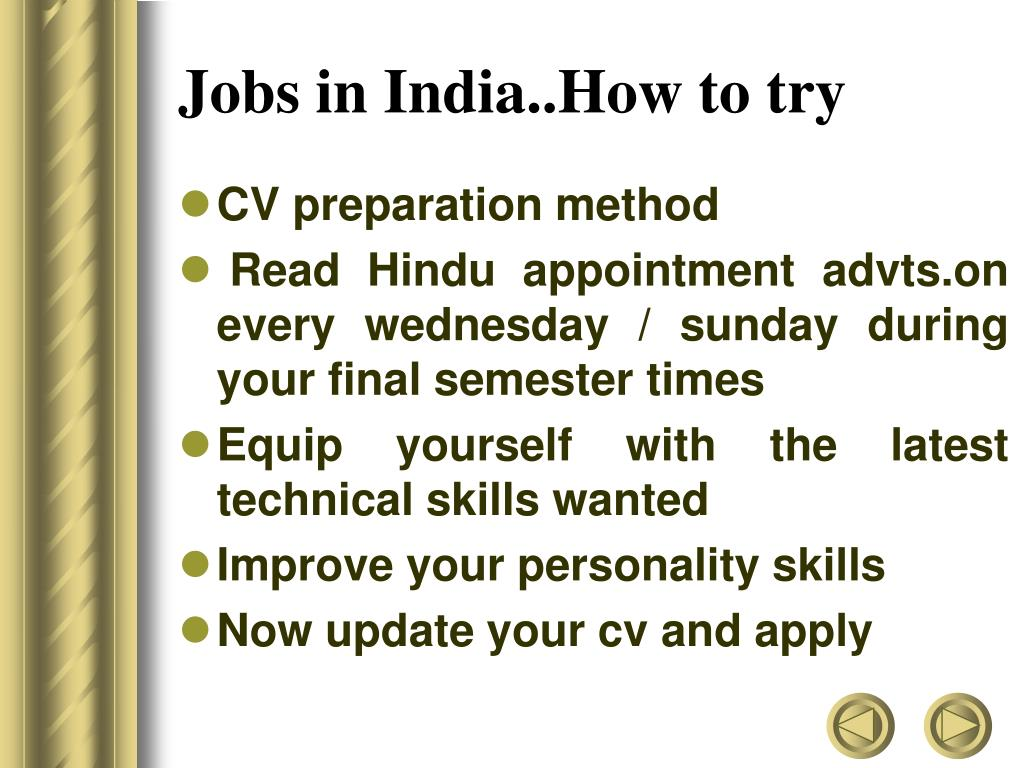 Jobs in India..How to try