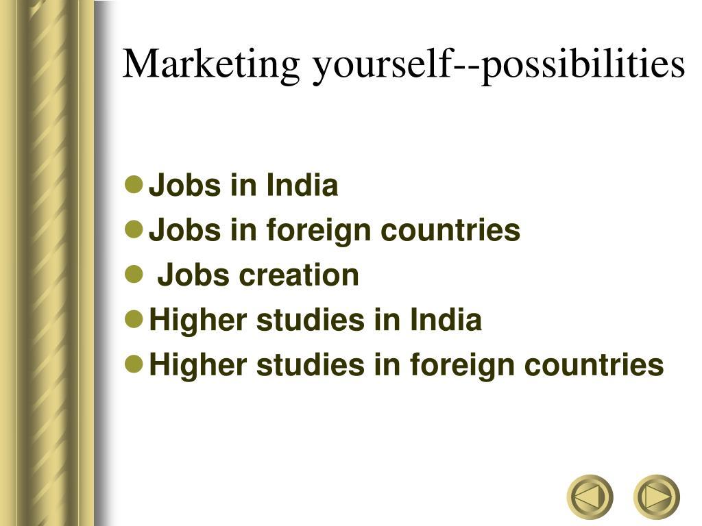 Marketing yourself--possibilities