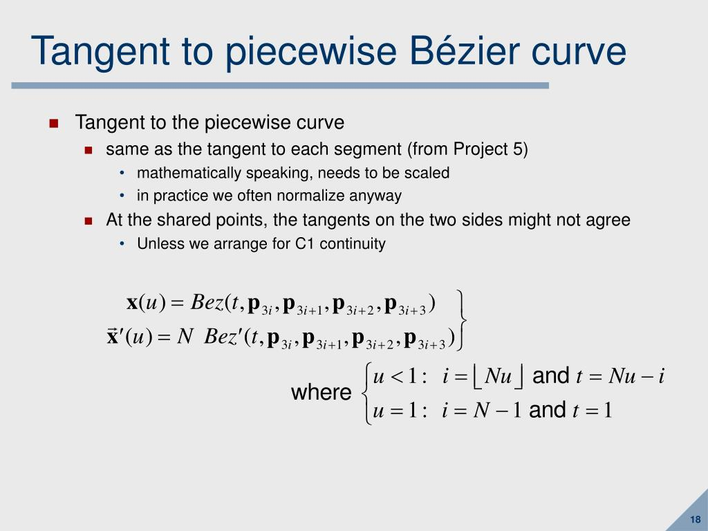 Tangent to piecewise B