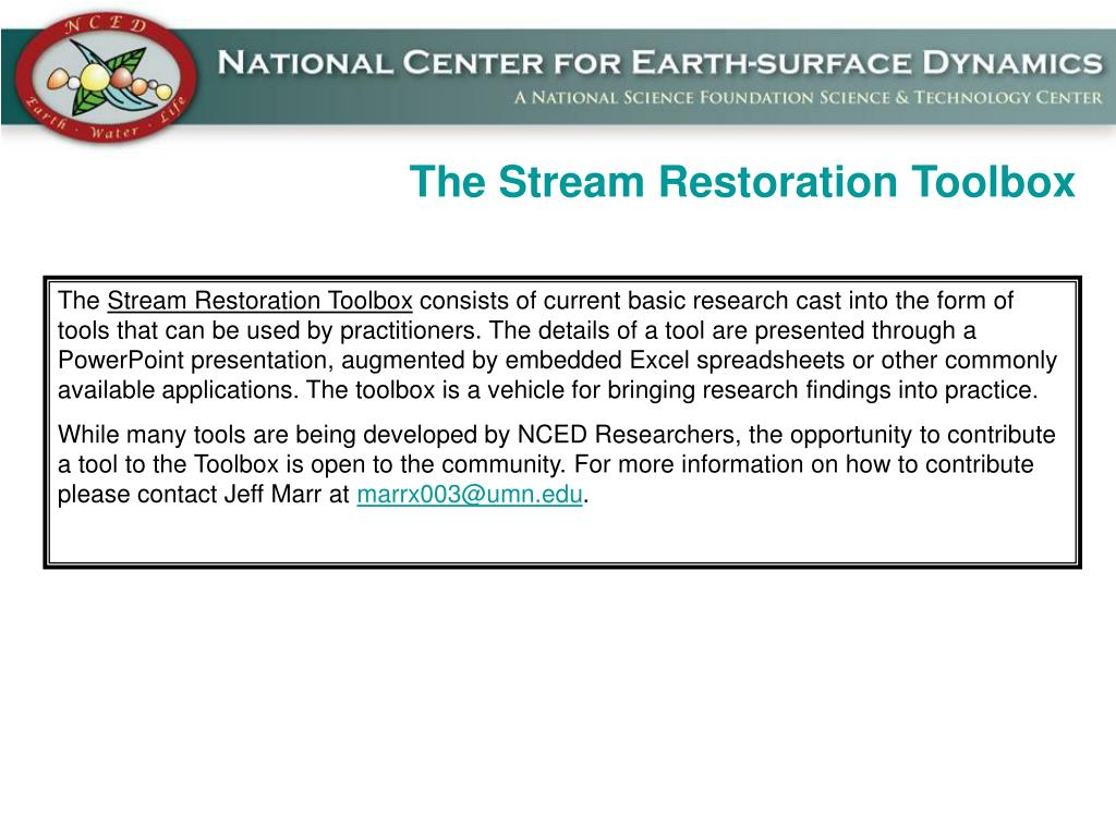 The Stream Restoration Toolbox