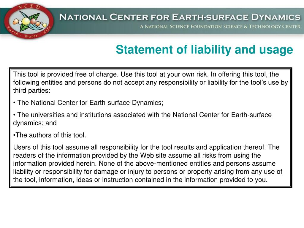 Statement of liability and usage
