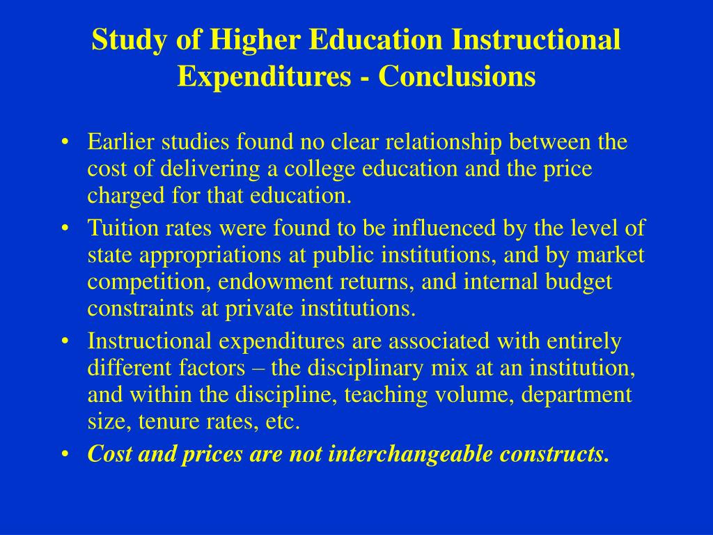 Study of Higher Education Instructional Expenditures - Conclusions