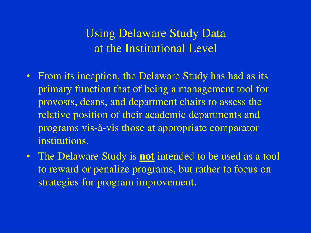 Using Delaware Study Data