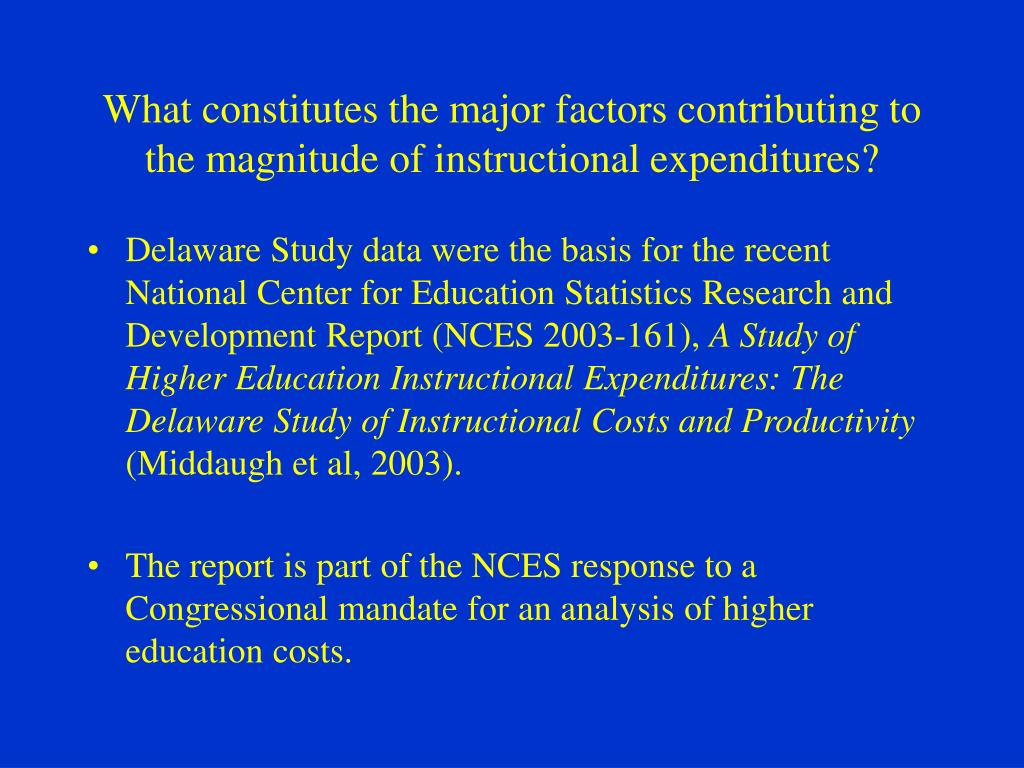 What constitutes the major factors contributing to the magnitude of instructional expenditures?