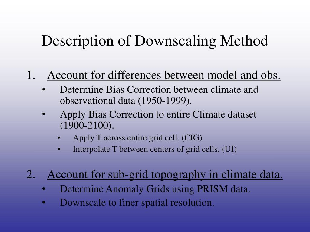 Description of Downscaling Method