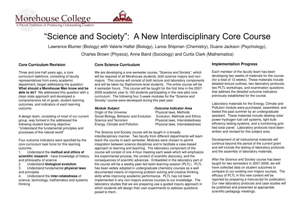 """""""Science and Society"""":  A New Interdisciplinary Core Course"""
