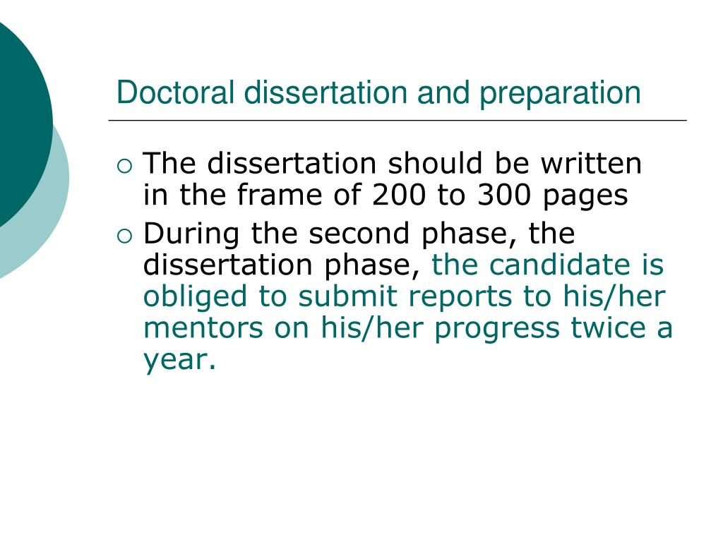 Doctoral dissertation and preparation