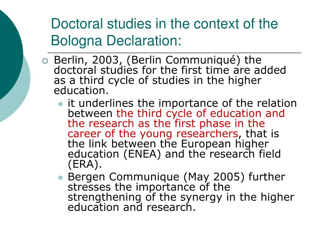 Doctoral studies in the context of the Bologna Declaration: