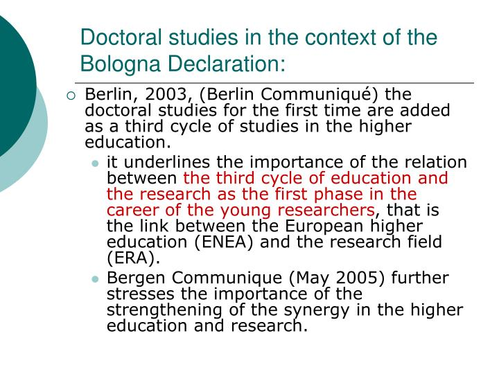 Doctoral studies in the context of the bologna declaration