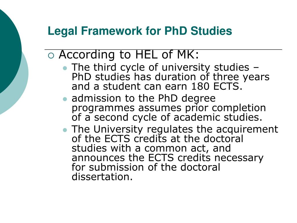 Legal Framework for PhD Studies