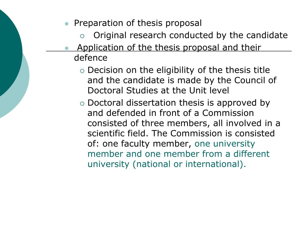 Preparation of thesis proposal