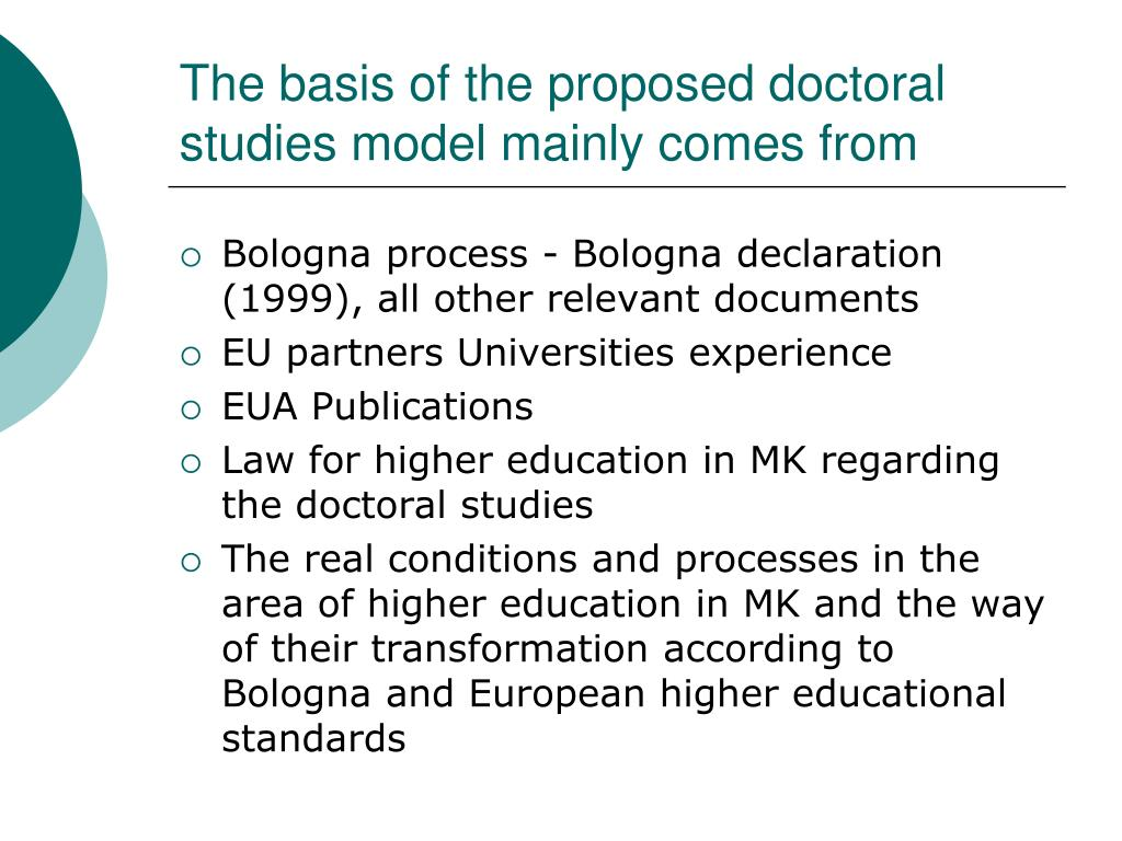 The basis of the proposed doctoral studies model mainly comes from