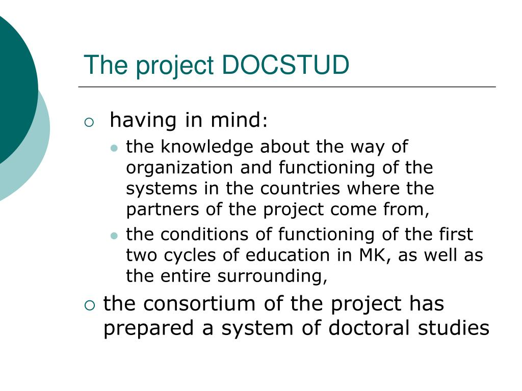 The project DOCSTUD