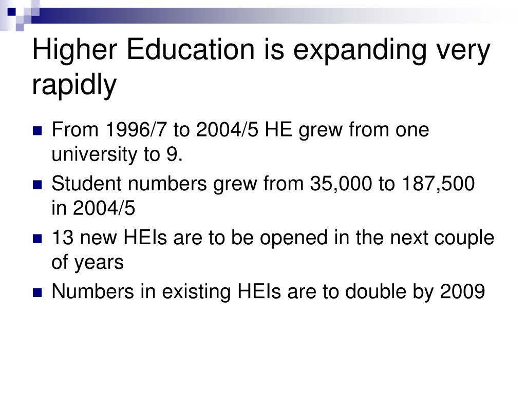 Higher Education is expanding very rapidly