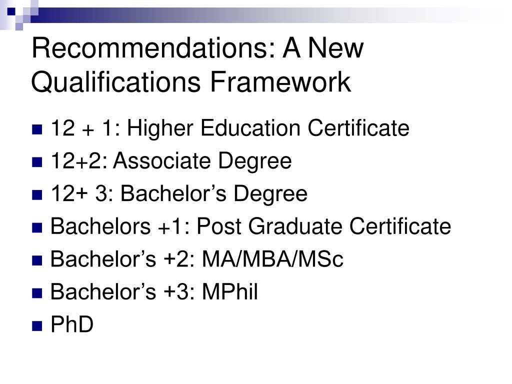 Recommendations: A New Qualifications Framework