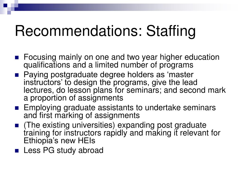 Recommendations: Staffing