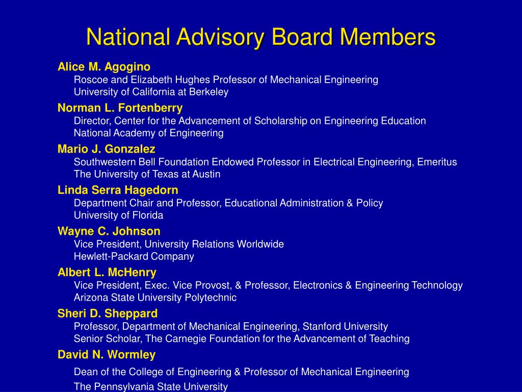 National Advisory Board Members