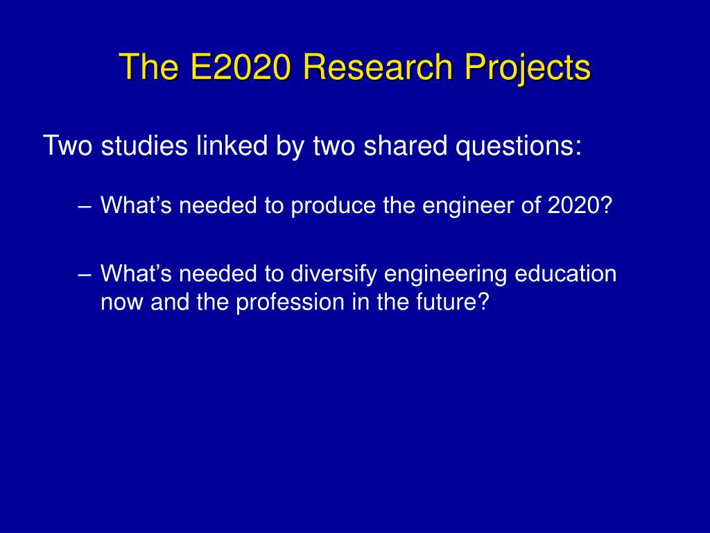 The E2020 Research Projects