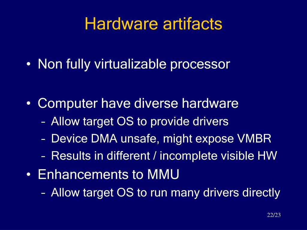 Hardware artifacts