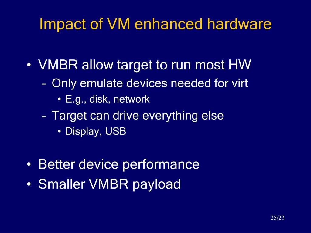 Impact of VM enhanced hardware