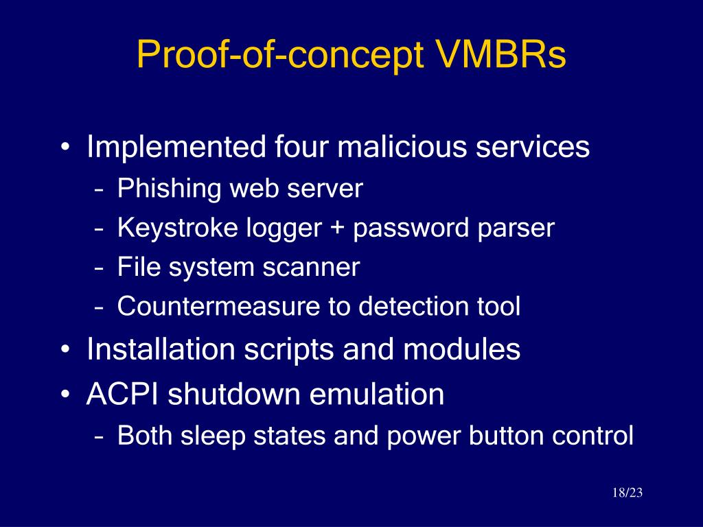 Proof-of-concept VMBRs