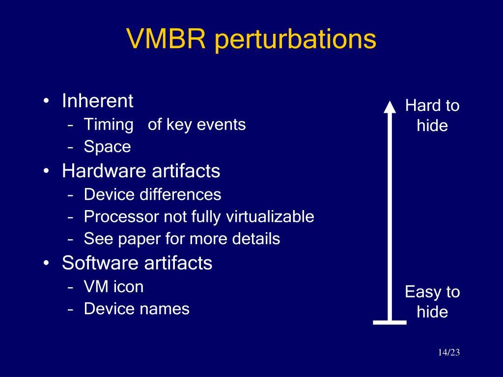 VMBR perturbations