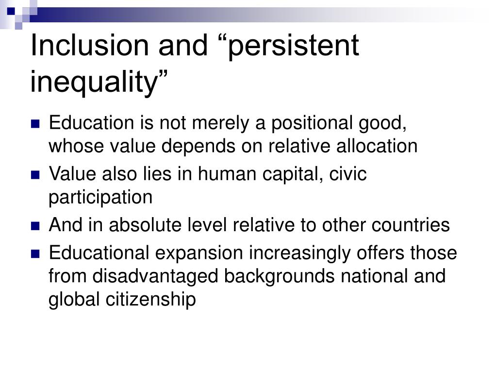 "Inclusion and ""persistent inequality"""
