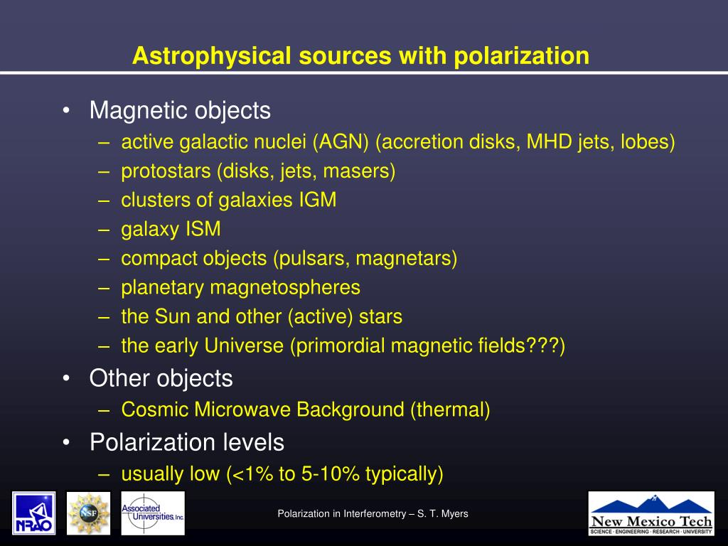 Astrophysical sources with polarization