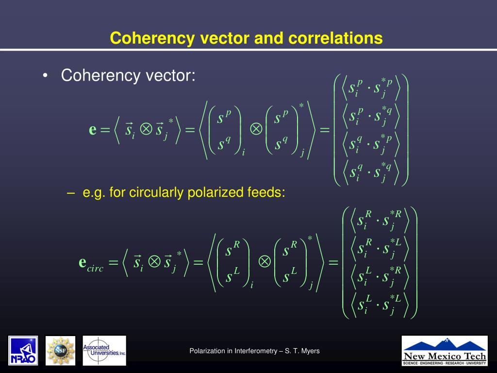 Coherency vector and correlations