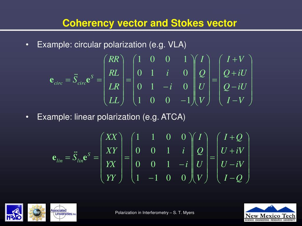 Coherency vector and Stokes vector