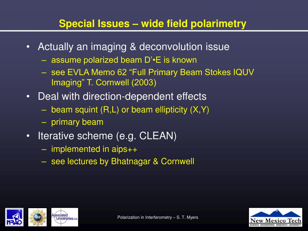 Special Issues – wide field polarimetry