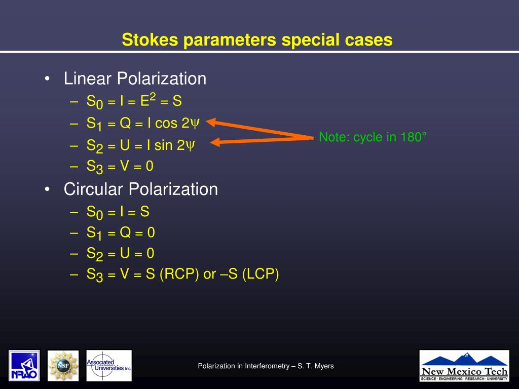 Stokes parameters special cases