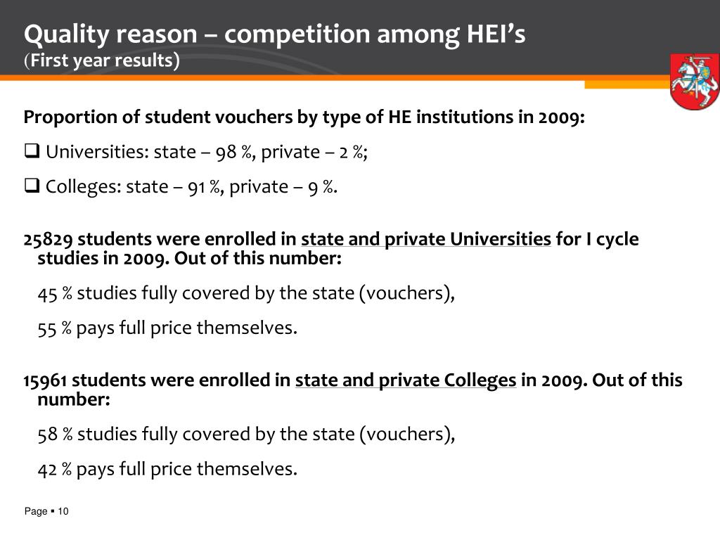 Quality reason – competition among HEI's