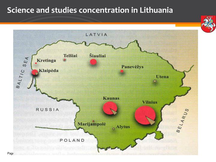 Science and studies concentration in lithuania