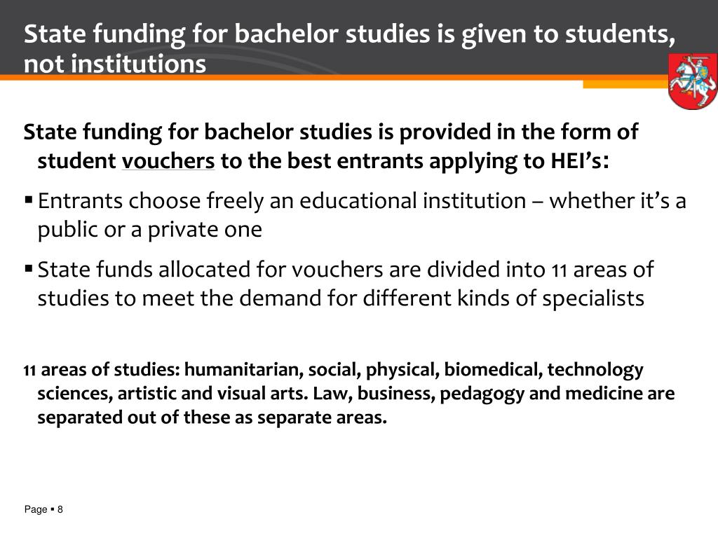 State funding for bachelor studies is given to students, not institutions