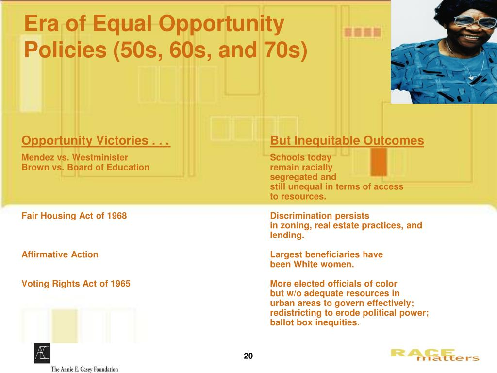 Era of Equal Opportunity Policies (50s, 60s, and 70s)