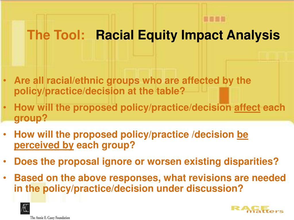 Are all racial/ethnic groups who are affected by the policy/practice/decision at the table?